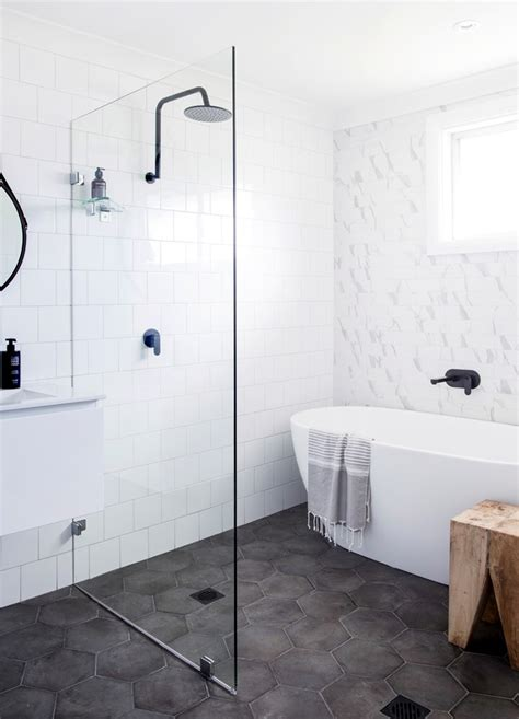 hexagon bathroom floor tile centsational style