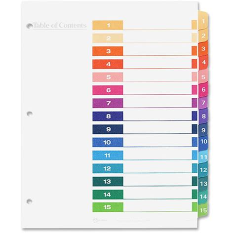 Avery Ready Index Table Of Contents Reference Divider Index Divider Template