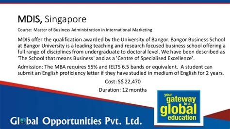 Mba In Without Ielts by Study The Mba In Singapore Without Gmat