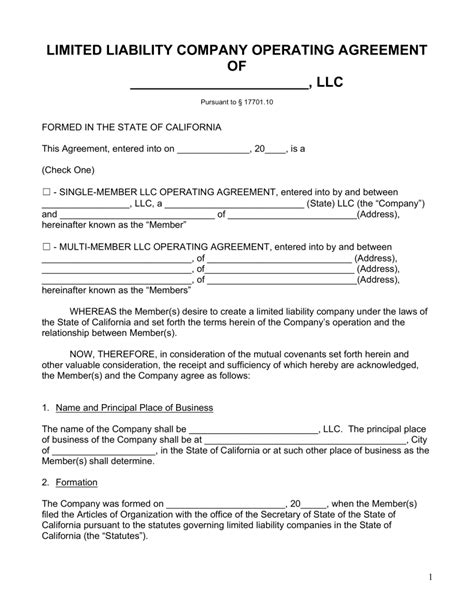 simple llc operating agreement template free california llc operating agreement forms pdf word