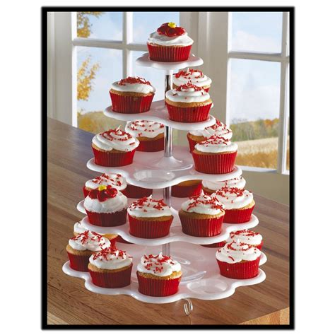 Cupcake Tier Candle Cupcake 5 tier white plastic cupcake holder display stand tower