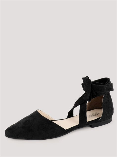 flat pointed shoes with ankle buy ankle tie pointed flat shoes for s black