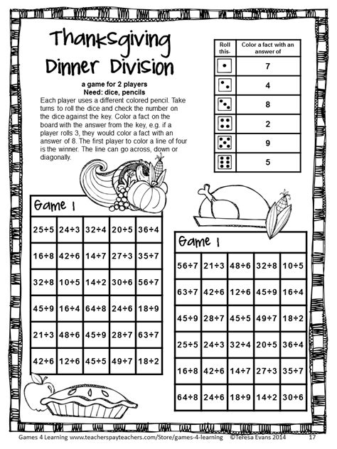 printable math games 4th grade thanksgiving math games fourth grade fun thanksgiving