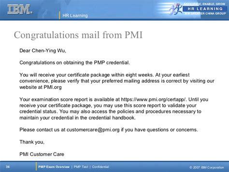 certification congratulation letter pmp overview