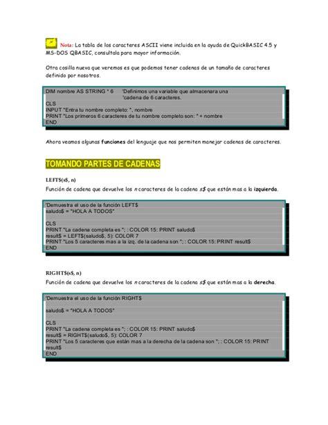 funciones para manejar cadenas en c cap 237 tulo 6 qbasic manipulaci 243 n de cadenas de texto