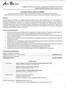 Elementary Resume Sles by School Teachers Resume Sales Lewesmr