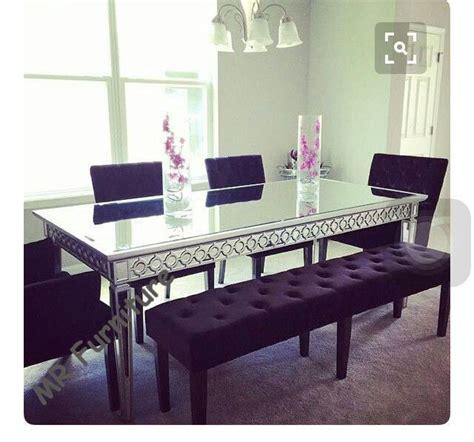 sophia silver glass dining table   cm mirror