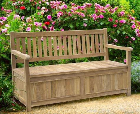 Garden Storage Bench Teak 5ft Garden Storage Bench With Arms