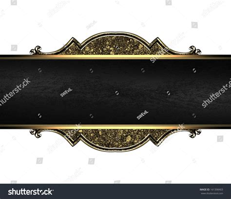 Ck Sand Black Gold nameplate with a gold pattern texture of sand and black ribbon design template stock photo