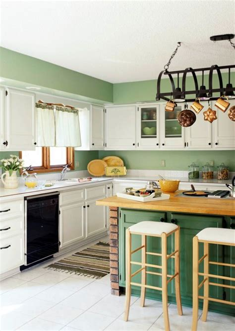 Green And White Kitchen Cabinets Kitchens With Green Cabinets Wallpaper Side