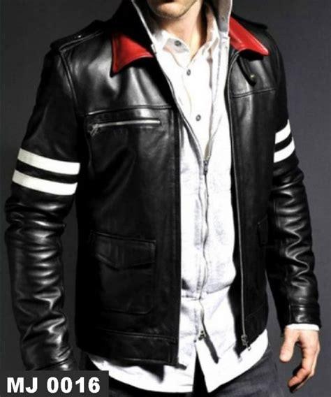 Jaket Kulit Pria Variasi jaket kulit kerah merah mj 0016 putih model terbaru