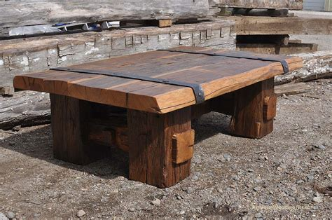 Reclaimed wood coffee table with iron straps antique woodworks