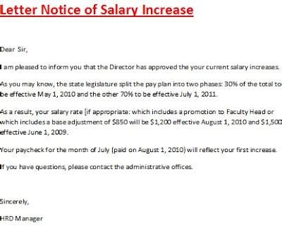 letter notice of salary increase