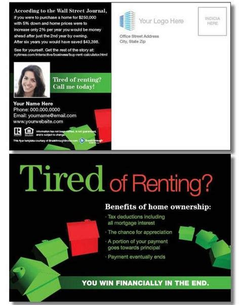 For Only For Buyer quot tired of renting quot postcard exles flyers postcards etc renting tired and