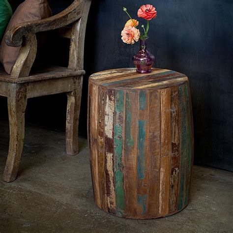 reclaimed wood accent table reclaimed wood weathered tanki table eclectic side