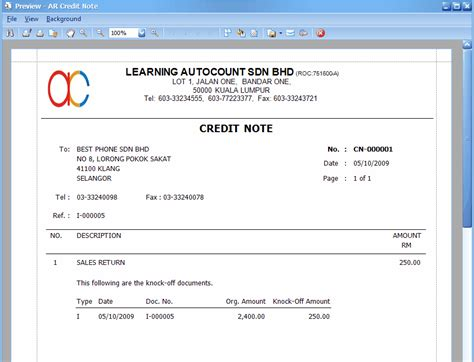 Credit Note For Overpayment Template A R Credit Note Entry