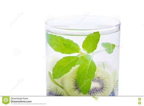 Basil Detox by Detox Water With Blueberries Kiwi And Basil Leaves Stock