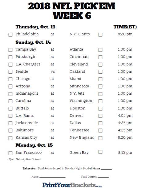 printable nfl schedule week 6 printable nfl week 6 schedule pick em pool 2018