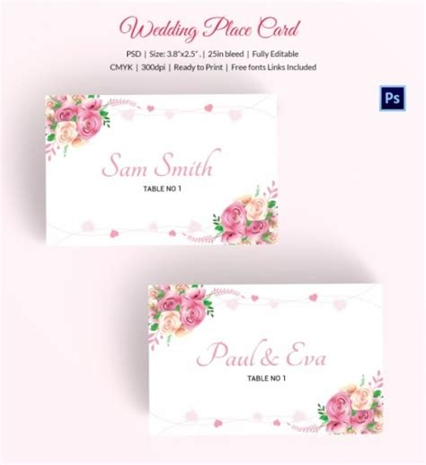 wedding place cards template psd free wedding place card template free template design 2018
