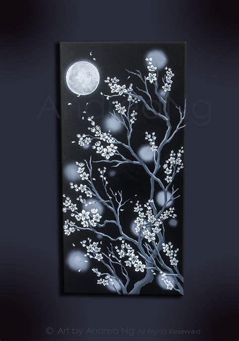 acrylic paint on black canvas white cherry blossoms moon original acrylic by
