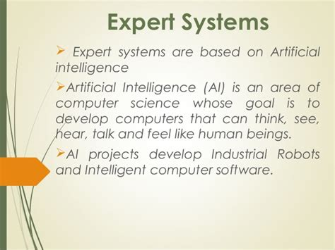 Mba 5401 Define An Expert System by Expert Systems Mis