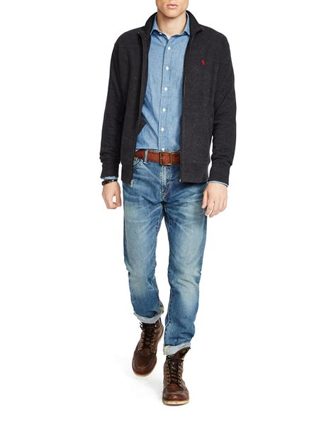 Jaket Sweater Jipper Maroon Rib Black polo ralph rib zip jacket in black for lyst