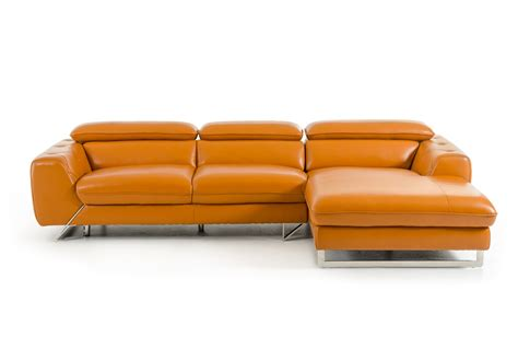 divani casa modern orange leather sectional sofa