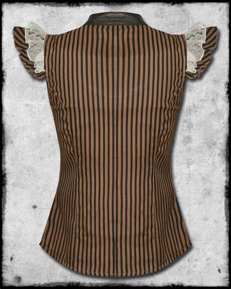 Striped Frilled Trim Blouse jawbreaker intrepid steunk black brown stripe faux