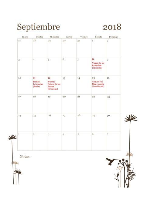 organiza t calendarios de septiembre gratis para descargar 15 im 225 genes de calendario laboral 2018 de madrid para
