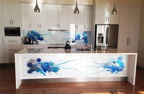 Kitchen Pendant Lighting - blue art glass splashbacks