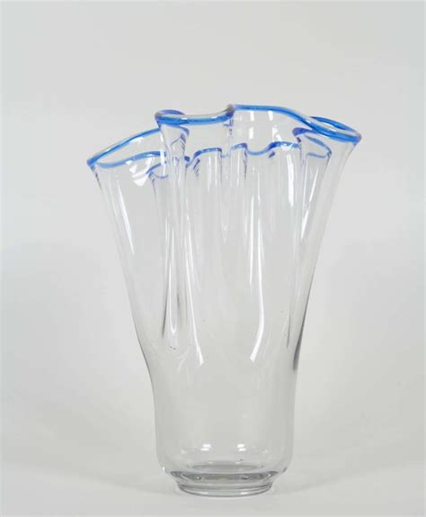 glass handkerchief vase with blue for sale at 1stdibs