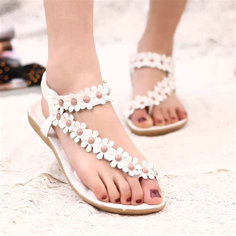 Handmade Summer Shoes For Womenflat - aliexpress buy flower sandals fashion
