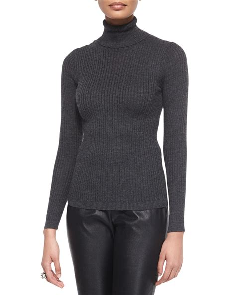 Lyst St Ribbed Knit Turtleneck Sweater In Gray