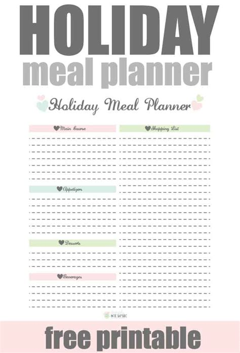 printable holiday meal planner holiday meal planner free printable simply stacie