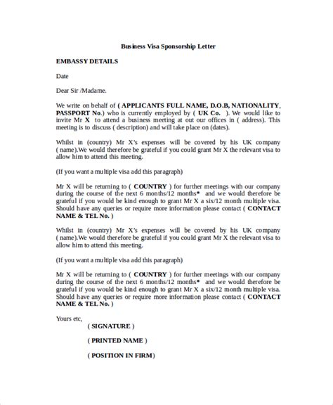 Sponsorship Letter For Italy Visa Sle Visa Sponsorship Letter 7 Documents In Pdf Word