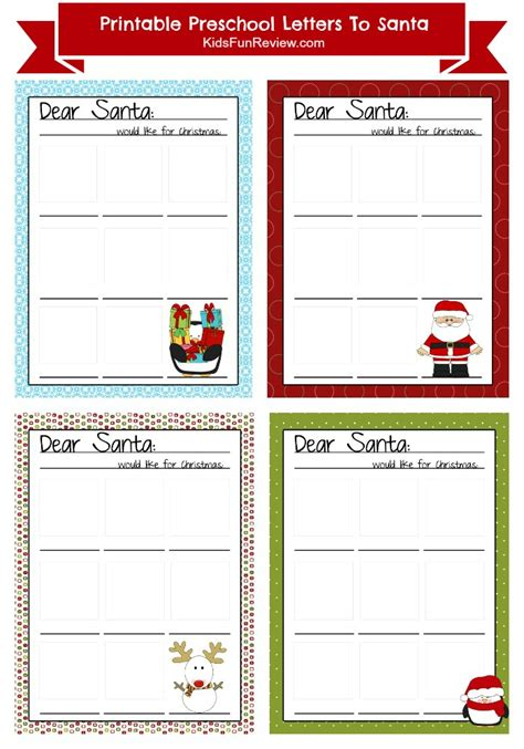 letter to santa template kindergarten printable preschool letter to santa the kid s fun review