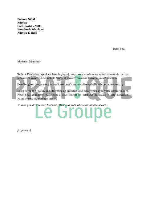 Exemple De Lettre Non Renouvellement De Contrat Modele Lettre Non Renouvellement De Contrat