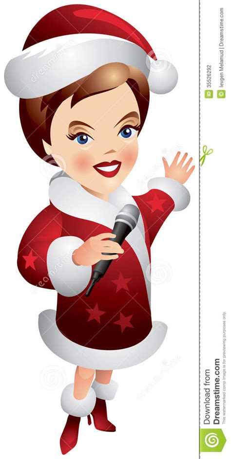 santa claus girl holding microphone stock vector image