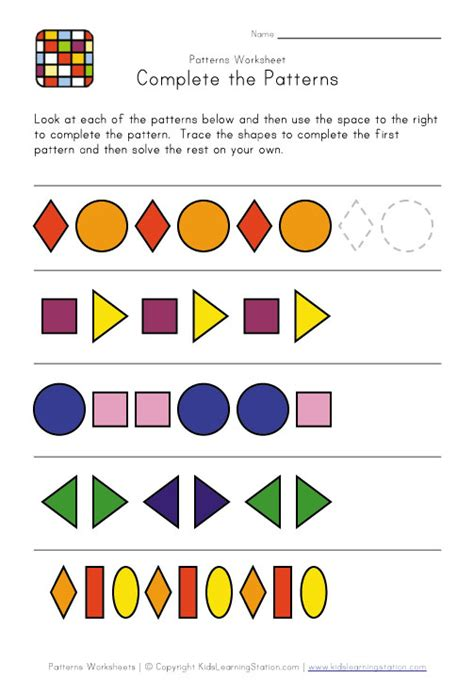 complete the pattern for kindergarten complete the patterns pattern worksheets pinterest