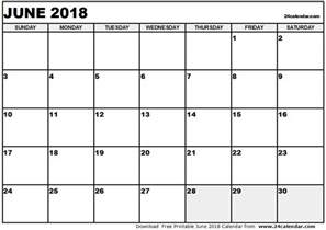 2018 Calendar For June June 2018 Calendar Calendar Printable Free