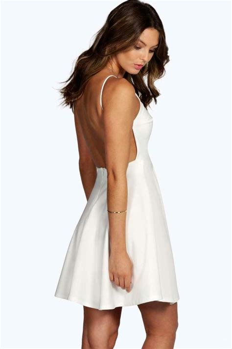 By Zo Skater Dress With Cross Neck Shopstyle Women | boohoo nancy crepe strappy backless skater dress