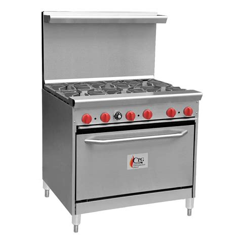 Oven Gas Standard 36 quot commercial gas range cpg 36 inch 6 burner range with