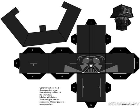 Starwars Papercraft - build your own cubecraft darth vader wars the