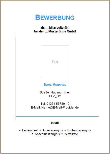 Bewerbungsunterlagen Muster Kostenlos Bewerbung Deckblatt Vorlagen Und Muster