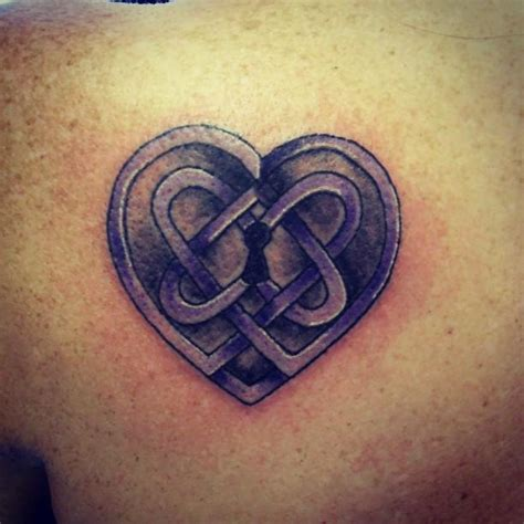 purple heart tattoo purple ink celtic lock design tattooshunt