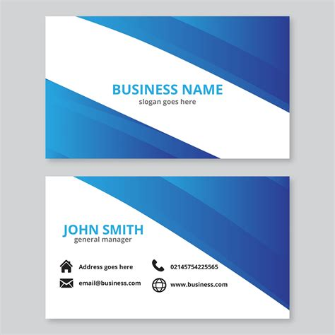 Https Www Vecteezy Free Vector Business Card Templates by Blue Abstract Waves Business Card Free Vector