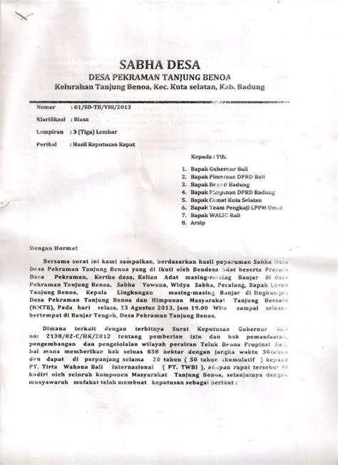 hasil keputusan rapat sabha desa desa adat tanjung benoa