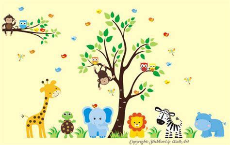 jungle safari wall stickers birds safari tree jungle animals decal blue wall