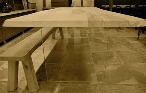 perspex and ash or oak wood floating dining table by
