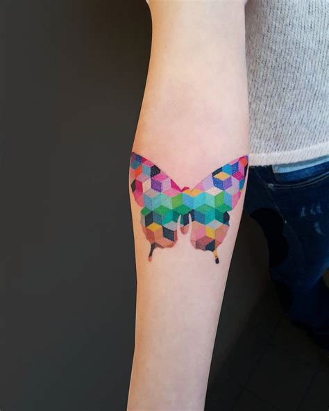 colorful geometric tattoos geometric patterned colorful butterfly venice